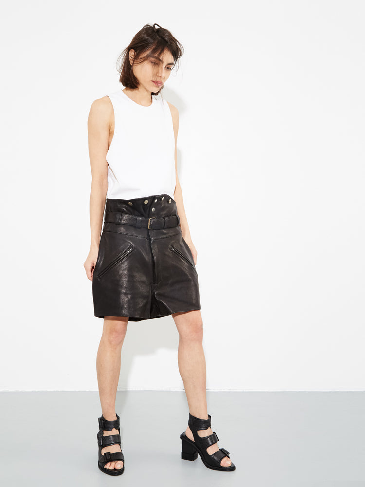 Black Leather Biker Short by Oak