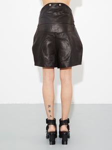 Black Leather Biker Short by Oak in Black by Oak OOS