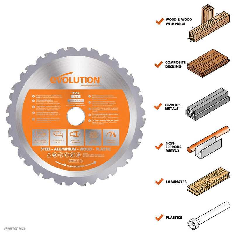 Evolution 165mm Multi-Material Cutting 18T Blade - Evolution Power Tools UK