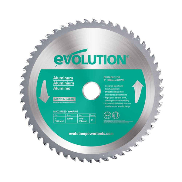 180mm Aluminium Cutting 54T Blade - Evolution Power Tools