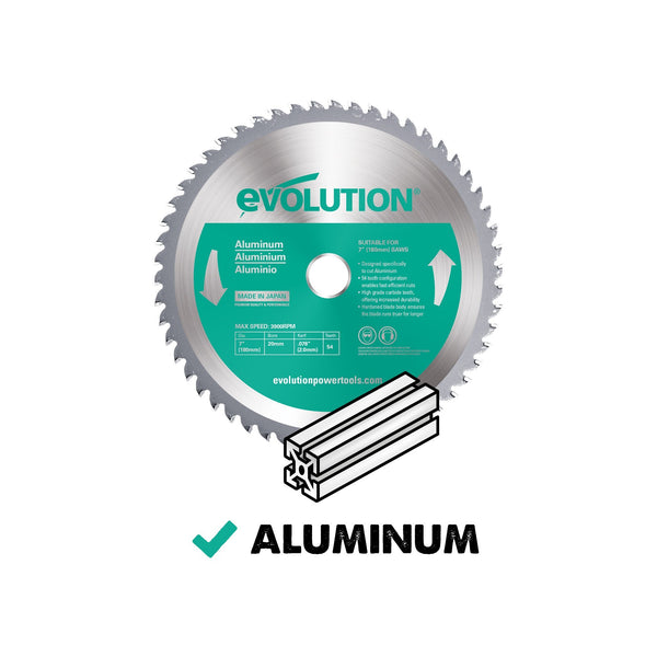 180mm Aluminium Cutting 54T Blade - Evolution Power Tools Ltd.