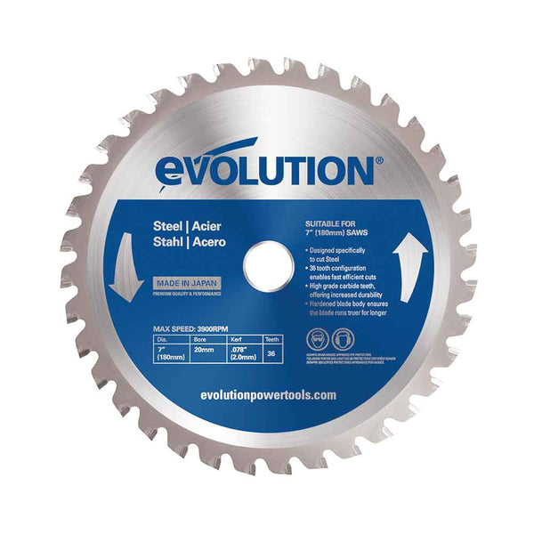 Evolution 180mm Mild Steel Cutting 36T Blade (For Circular Saws & Chop Saws Only) - Evolution Power Tools UK