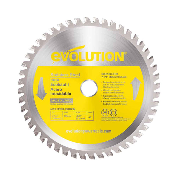 Evolution 180mm Stainless Steel Cutting 48T Blade - Evolution Power Tools UK
