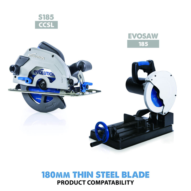 180mm Thin Steel Cutting 68T Blade - Evolution Power Tools