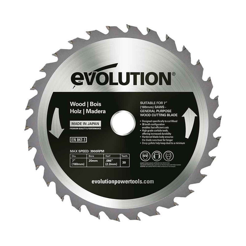 Evolution 180mm Wood Cutting 30T Blade - Evolution Power Tools UK