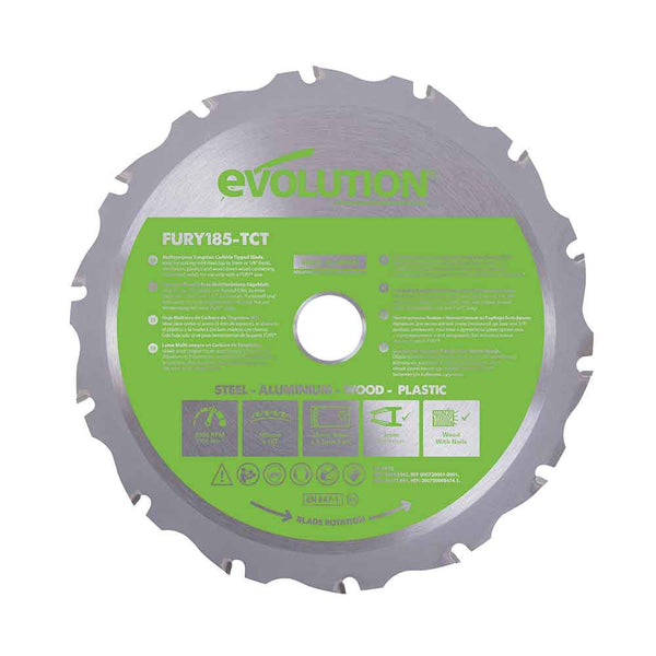 Evolution 185mm Multi-Material Cutting 16T Blade - Evolution Power Tools UK