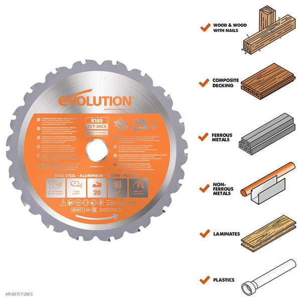 185mm Multi-Material Cutting 20T Blade (Circular Saws & RAGE4 Only) - Evolution Power Tools Ltd.