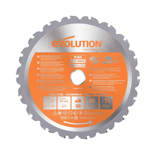 185mm Multi-Material Cutting 20T Blade (Circular Saws & RAGE4 Only) - Evolution Power Tools