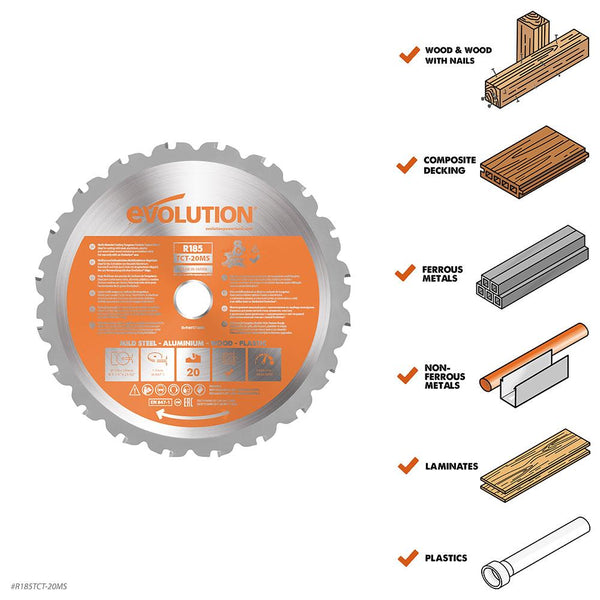 185mm Multi-Material Cutting 20T Blade (Mitre Saws Only) - Evolution Power Tools