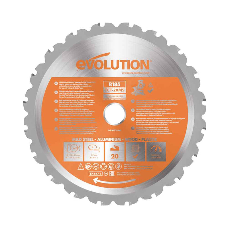 Evolution 185mm Multi-Material Cutting 20T Blade (Mitre Saws Only) - Evolution Power Tools