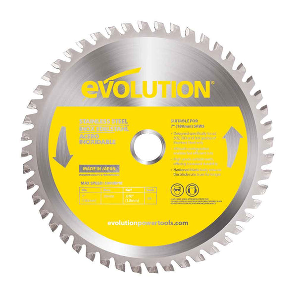 185mm Stainless Steel Cutting 48T Blade - Evolution Power Tools