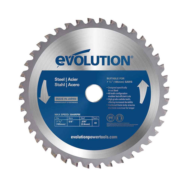 185mm 40T Mild Steel Cutting Blade - Evolution Power Tools