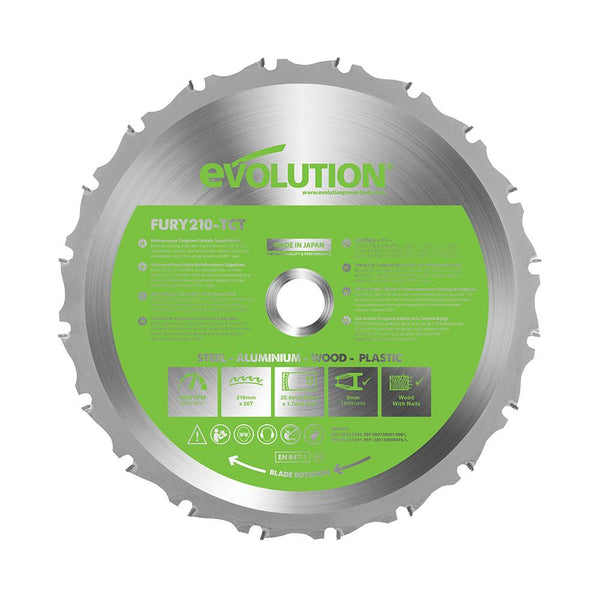 Evolution 210mm Multi-Material Cutting 20T Blade - Evolution Power Tools UK