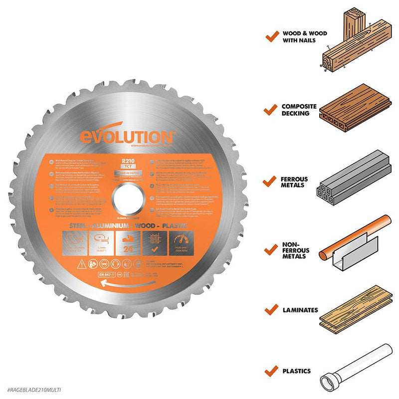 Evolution 210mm Multi-Material Cutting 24T Blade - Evolution Power Tools UK