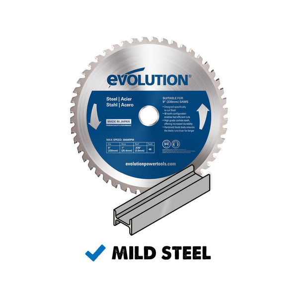 230mm Mild Steel Cutting 48T Blade - Evolution Power Tools Ltd.