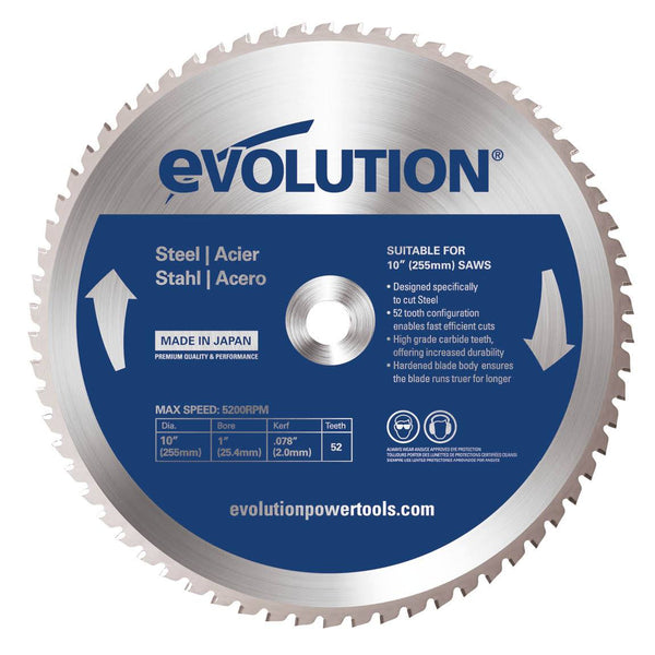 255mm Mild Steel Cutting 52T Blade - Evolution Power Tools