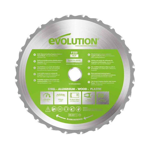Evolution 255mm Multi-Material Cutting 24T Blade - Evolution Power Tools UK
