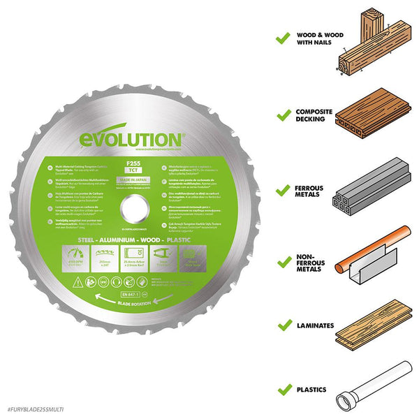 255mm Multi-Material Cutting 24T Blade - Evolution Power Tools Ltd.