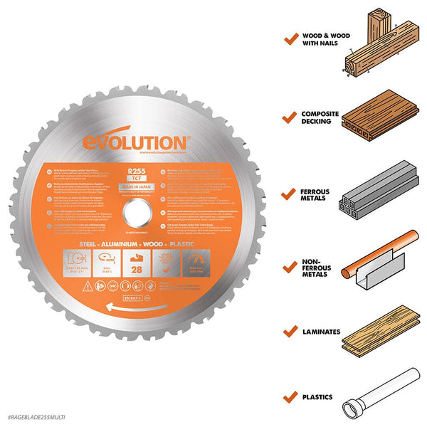 255mm Multi-Material Cutting 28T Blade - Evolution Power Tools Ltd.