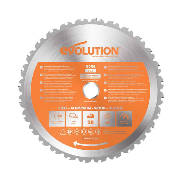255mm Multi-Material Cutting 28T Blade - Evolution Power Tools