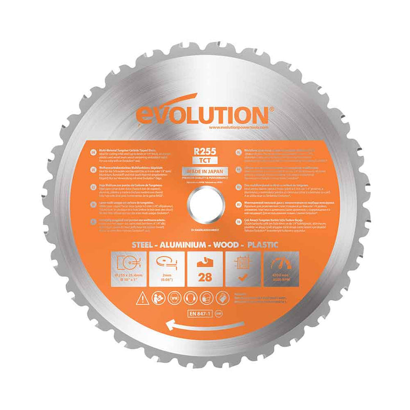 Evolution 255mm Multi-Material Cutting 28T Blade - Evolution Power Tools UK