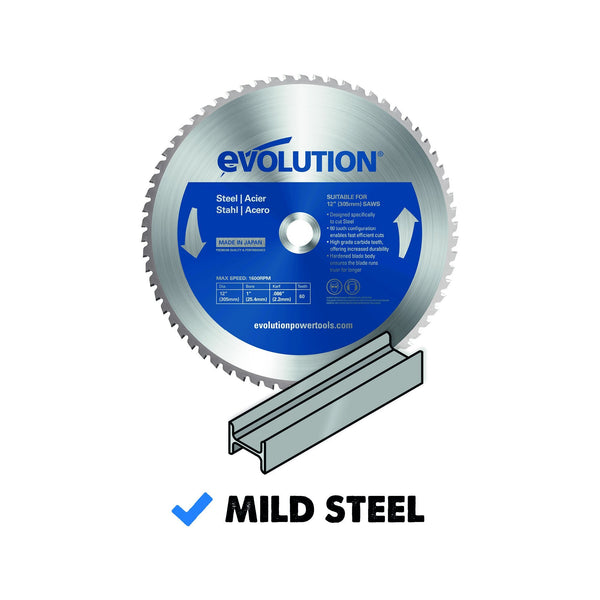 305mm Mild Steel Cutting 60T Blade - Evolution Power Tools Ltd.