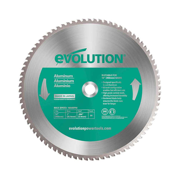 355mm Aluminium Cutting 80T Blade - Evolution Power Tools
