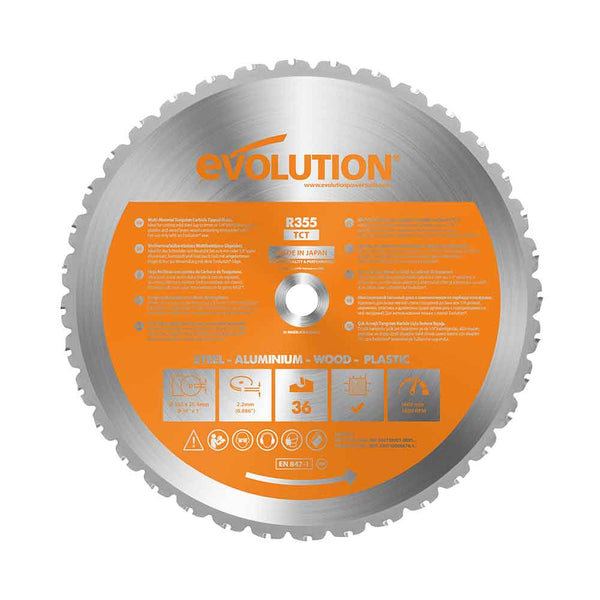 355mm Multi-Material Cutting 36T Blade - Evolution Power Tools