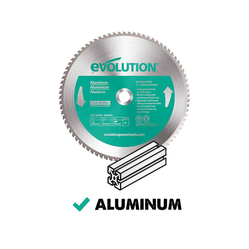 Evolution 355mm Aluminium Cutting 80T Blade - Evolution Power Tools UK