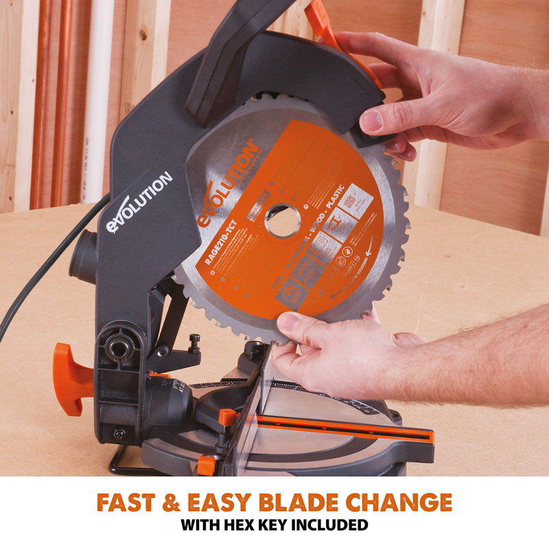 R210CMS - 210mm Compound Mitre Saw With TCT Multi-Material Cutting Blade - Evolution Power Tools