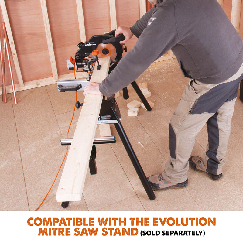 Evolution R210CMS - 210mm Compound Mitre Saw With TCT Multi-Material Cutting Blade - Evolution Power Tools