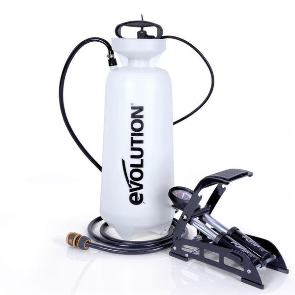 Evolution 15L Pressurised Water Bottle with Foot Pump and 3m Hose for Dust Suppression - Evolution Power Tools UK