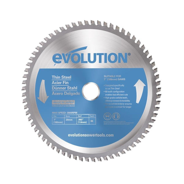 Evolution 180mm Thin Steel Cutting 68T Blade - Evolution Power Tools UK