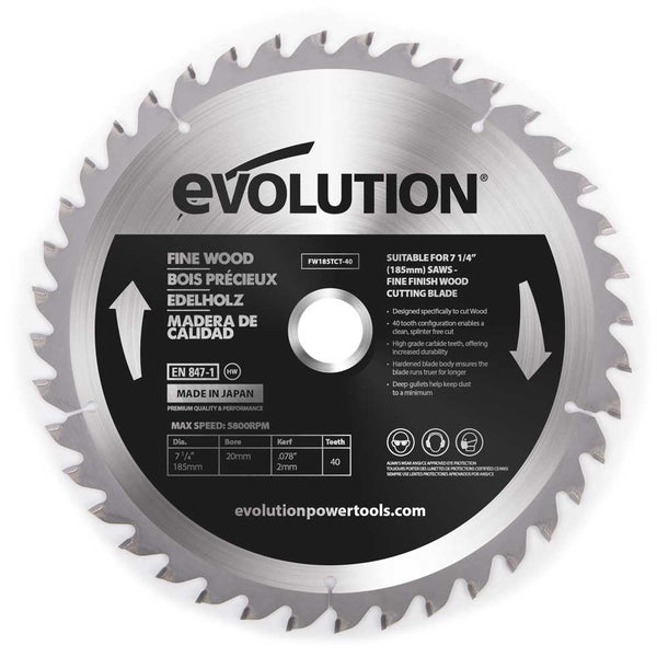 Evolution 185mm Fine Wood Blade 40T - Evolution Power Tools