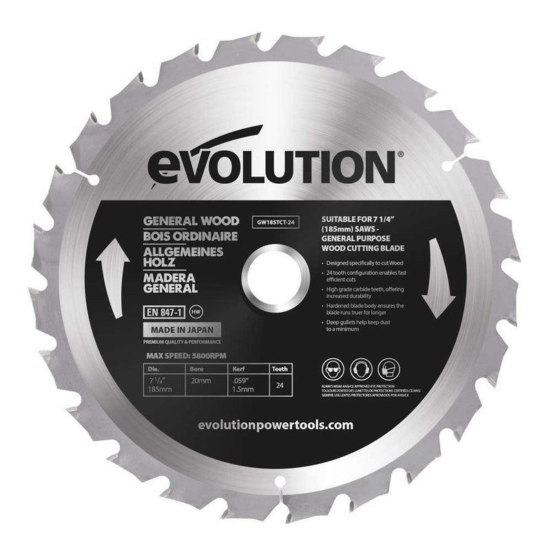 Evolution 185mm General Wood Blade 24T - Evolution Power Tools UK