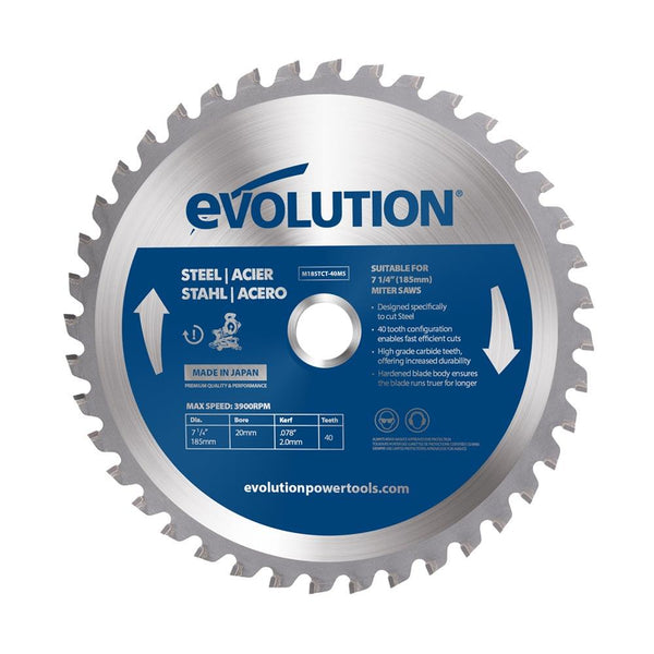 Evolution 185mm Mild Steel Blade 40T - Evolution Power Tools