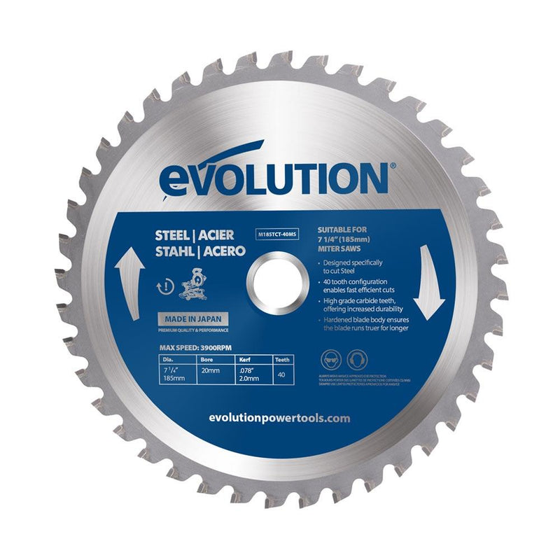Evolution 185mm Mild Steel Blade 40T (For Mitre Saws Only) - Evolution Power Tools UK