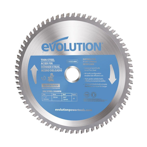 Evolution 185mm Thin Steel Blade 68T - Evolution Power Tools UK