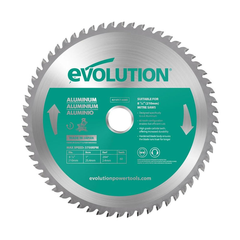 Evolution 210mm Aluminium Blade 60T - Evolution Power Tools UK