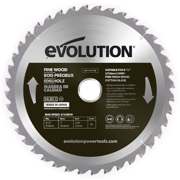 Evolution 210mm Fine Wood Blade 40T - Evolution Power Tools