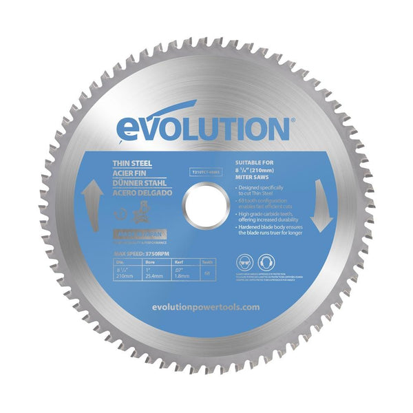 Evolution 210mm Thin Steel Blade 68T - Evolution Power Tools UK