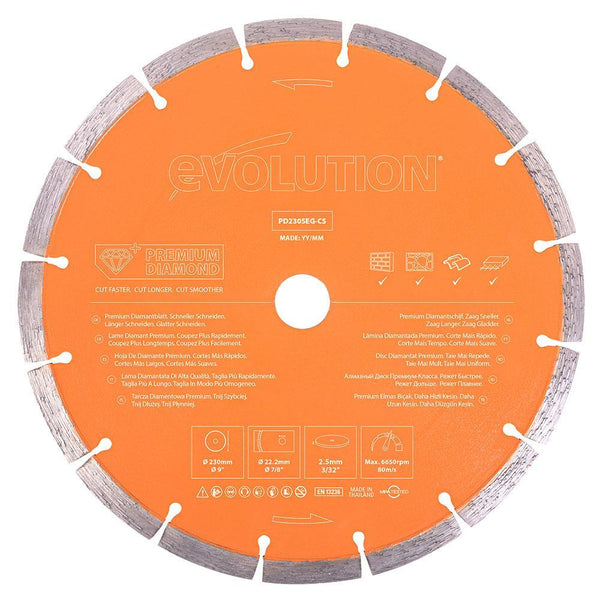 Evolution 230mm, Premium Diamond Disc Cutter Blade With High Diamond Concentration, Segmented Edge and 22.2mm Bore - Evolution Power Tools UK