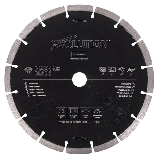 Evolution 230mm Segmented Edge, 22.2mm Bore, Concrete, Stone, Brick Cutting Diamond Blade - Evolution Power Tools UK