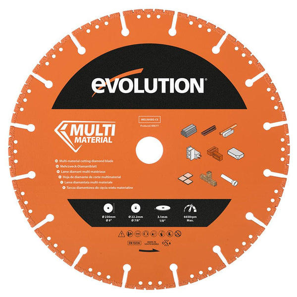 Evolution 230mm Segmented Edge, 22.2mm Bore, Multi-Purpose, Metal Cutting Diamond blade - Evolution Power Tools UK