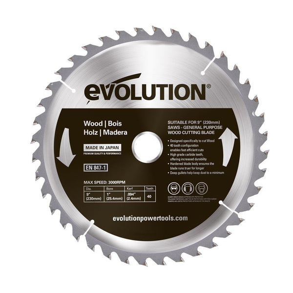 Evolution 230mm Wood Cutting 40T Blade - Evolution Power Tools UK