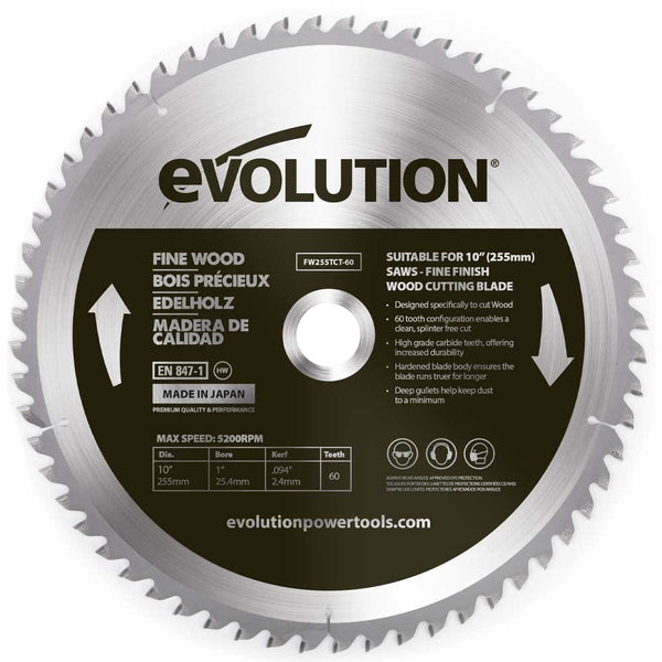 Evolution 255mm Fine Wood Blade 60T - Evolution Power Tools