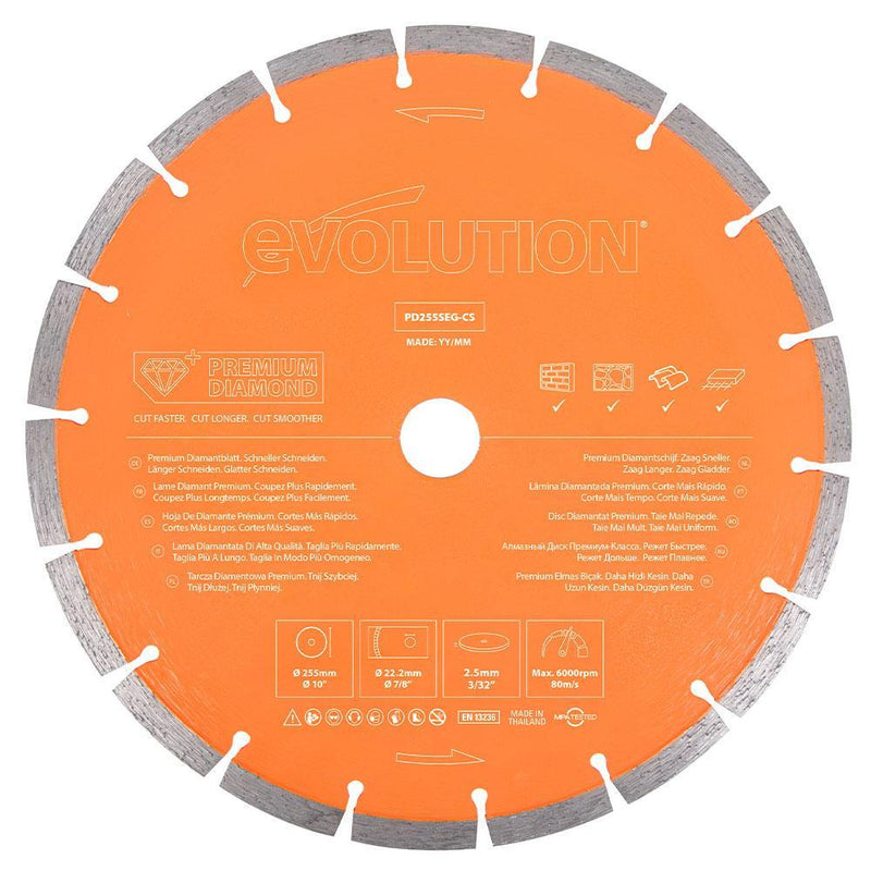 Evolution 255mm Premium Diamond Disc Cutter Blade With High Diamond Concentration, Segmented Edge and 22.2mm Bore - Evolution Power Tools UK