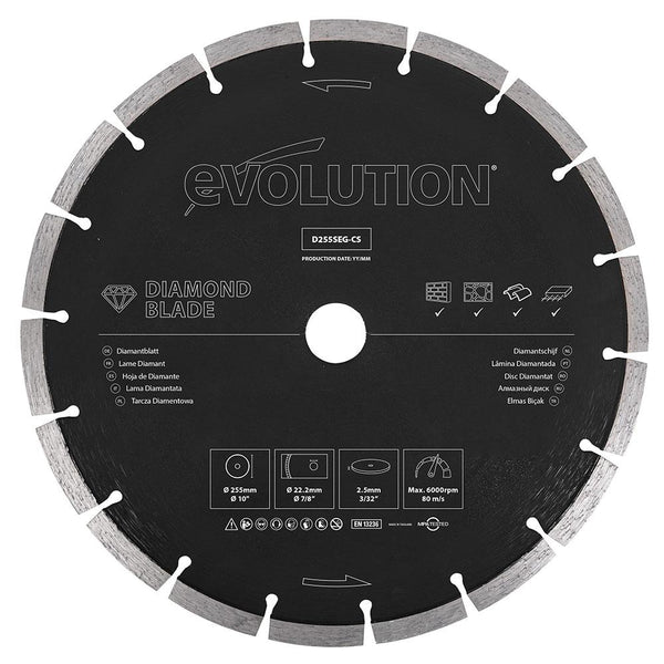 Evolution 255mm Segmented Edge, 22.2mm Bore, Concrete, Stone, Brick Cutting Diamond Blade - Evolution Power Tools UK