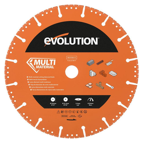 Evolution 255mm Segmented Edge, 22.2mm Bore, Multi-Purpose, Metal Cutting Diamond blade - Evolution Power Tools UK