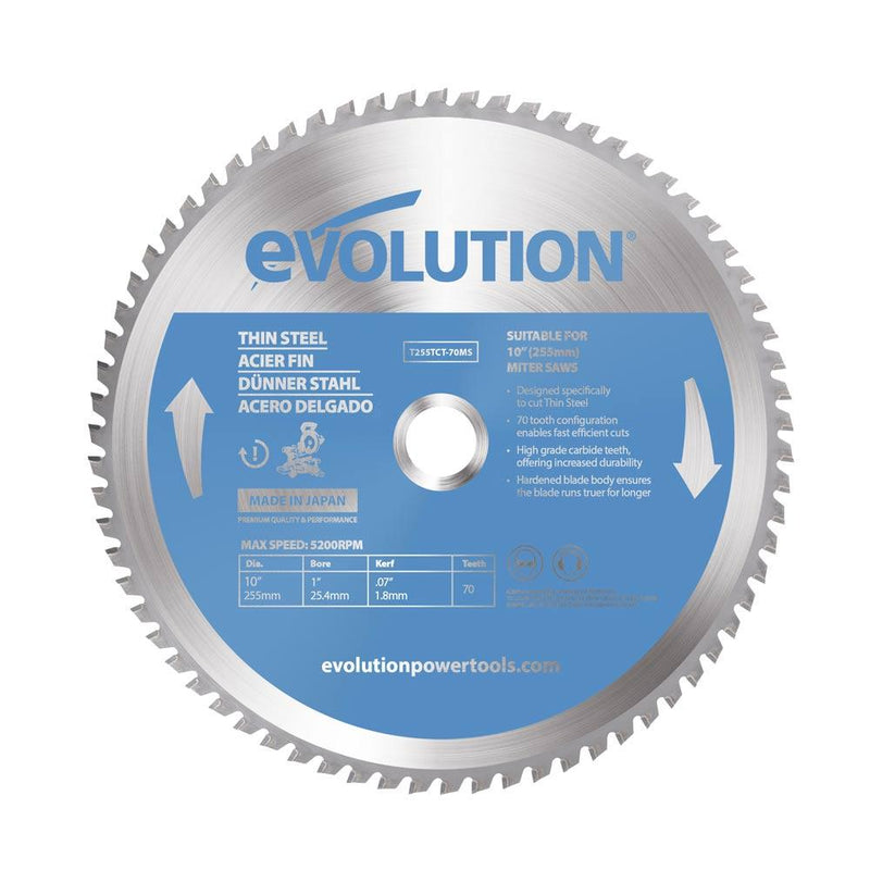 Evolution 255mm Thin Steel Blade 70T - Evolution Power Tools UK